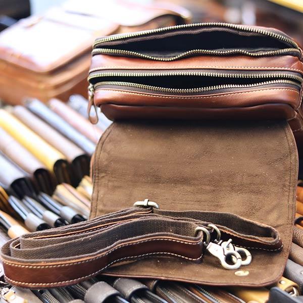 Túi da nam đeo chéo đựng iPad 2 ngăn khóa có tay xách KT135 dây đeo chéo dời