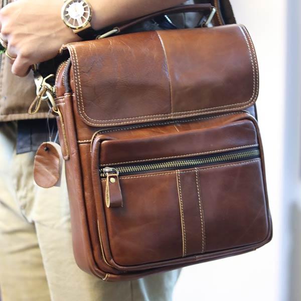 Túi da nam đeo chéo đựng iPad 2 ngăn khóa có tay xách KT135 đeo chéo