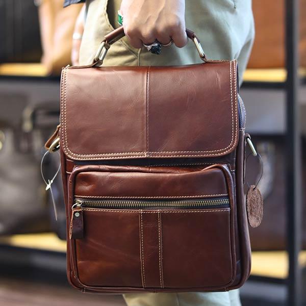 Túi da nam đeo chéo đựng iPad 2 ngăn khóa có tay xách KT135 kiểu dáng xách tay