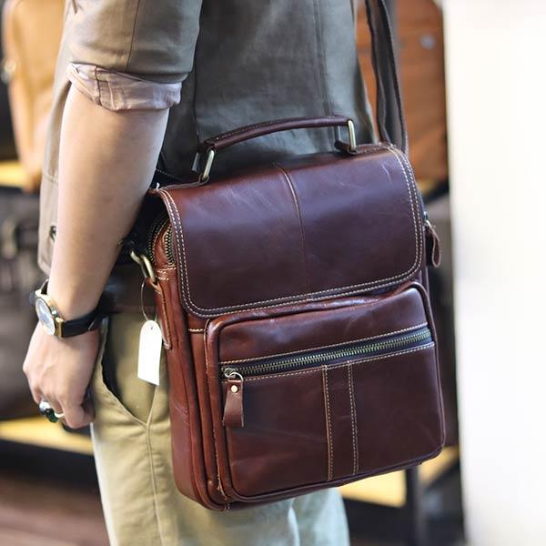 Túi da nam đeo chéo đựng iPad 2 ngăn khóa có tay xách KT135 nâu đỏ đeo chéo