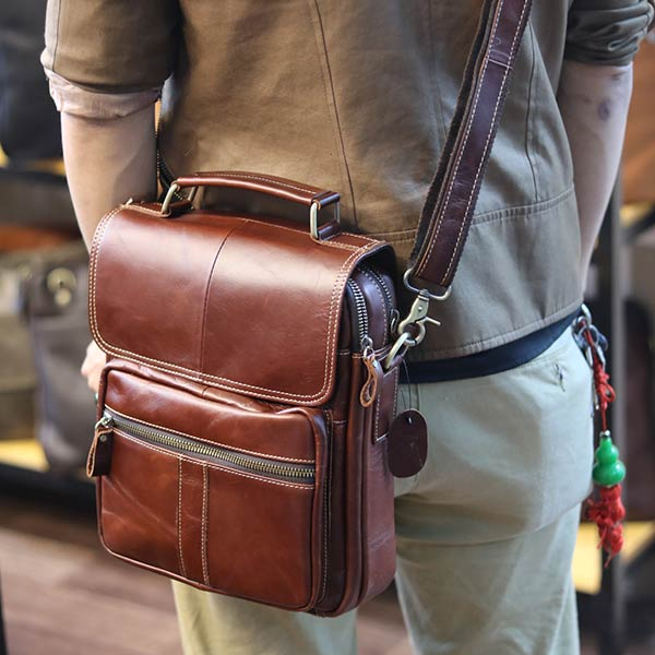 Túi da nam đeo chéo đựng iPad 2 ngăn khóa có tay xách KT135 đeo chéo sau lưng