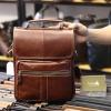 Túi da nam đeo chéo đựng iPad 2 ngăn khóa có tay xách KT135 nâu đỏ mặt trước