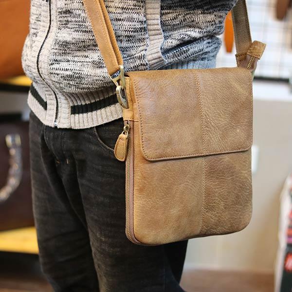 Túi da nam đeo chéo Lano siêu mỏng bằng da bò thật KT123 đeo chéo