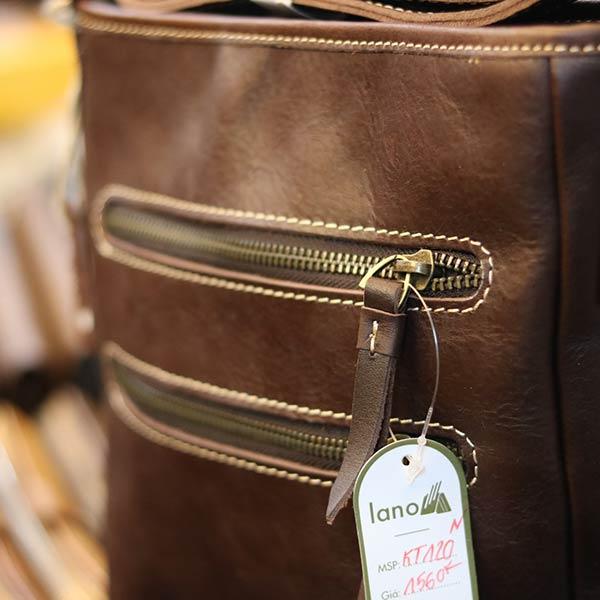 Túi da nam đeo chéo Lano thời trang đọc lạ KT120 2 khóa mặt trước