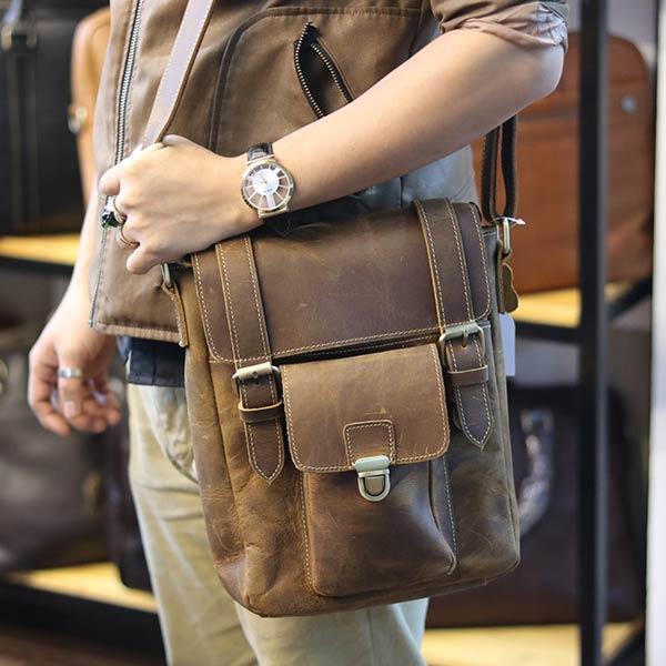 Túi đeo chéo nam da bò sáp khỏe khoắn mạnh mẽ KT132 đeo chéo ngang hông