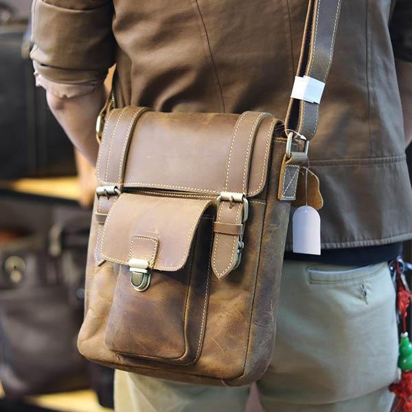 Túi đeo chéo nam da bò sáp khỏe khoắn mạnh mẽ KT132 đeo chéo sau lưng