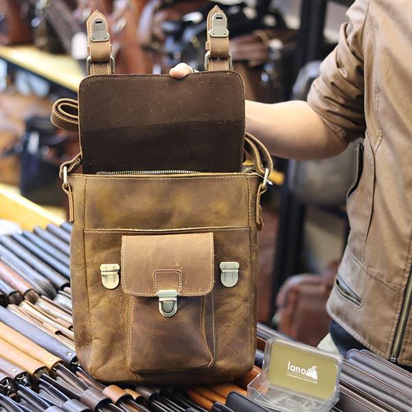 Túi đeo chéo nam da bò sáp khỏe khoắn mạnh mẽ KT132 nắp đậy ngăn chính