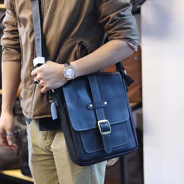 Túi đeo chéo nam da bò thật thời trang đẳng cấp 2019 KT133 màu đen đeo ngang hông