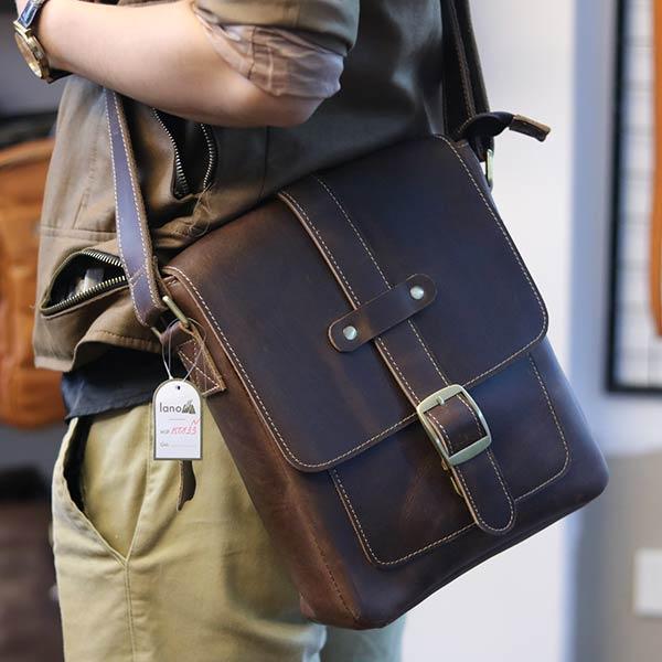 Túi đeo chéo nam da bò thật thời trang đẳng cấp 2019 KT133 màu nâu đeo chéo sau lưng