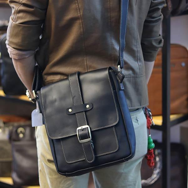Túi đeo chéo nam da bò thật thời trang đẳng cấp 2019 KT133 màu đen đeo chéo sau lưng