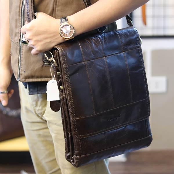 Túi đeo chéo nam đựng iPad da bò 2 ngăn đựng KT126 đeo chéo ngang hông