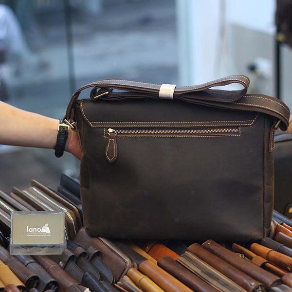 Cặp túi da nam đeo chéo đựng Macbook Laptop 13 inch CD92 - mặt sau