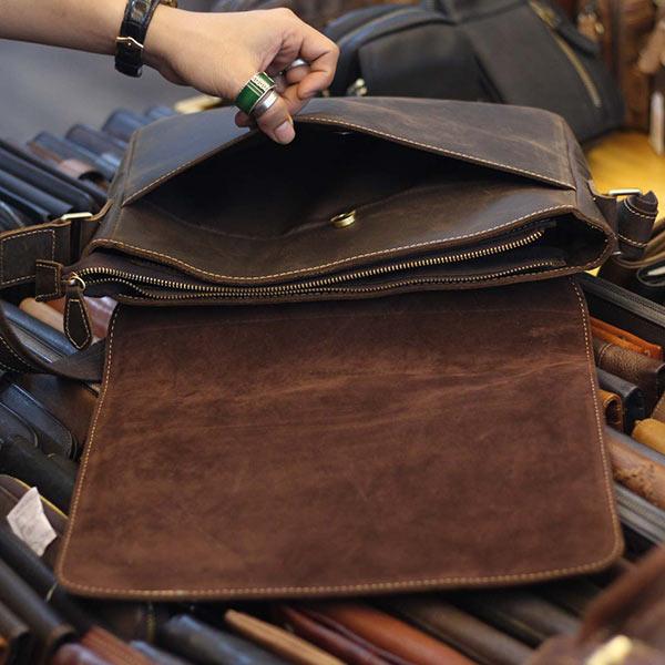Cặp túi da nam đeo chéo đựng Macbook Laptop 13 inch CD92 - ngăn trong
