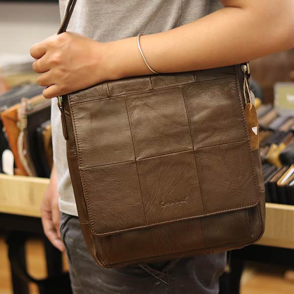Túi da đeo chéo đựng iPad Lano da bò thật nắp đậy KT136 đeo chéo