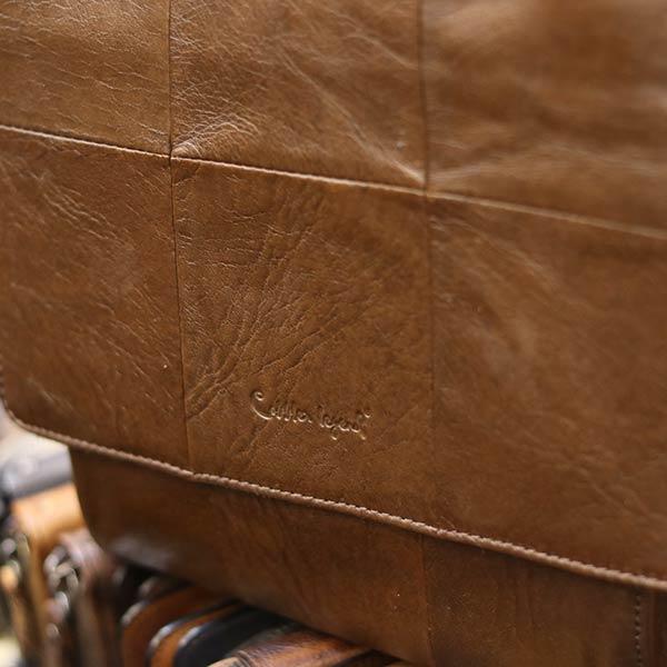 Túi da đeo chéo đựng iPad Lano da bò thật nắp đậy KT136 logo sắc nét