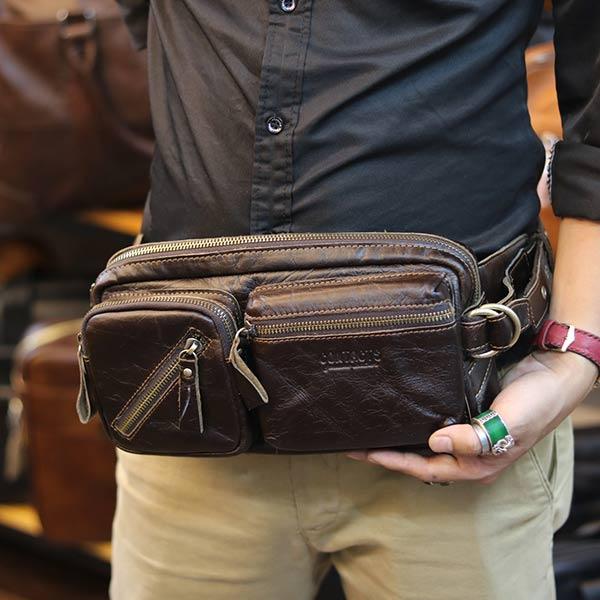 Túi bao tử đeo bụng Lano da bò thật chính hãng Contact TDB010