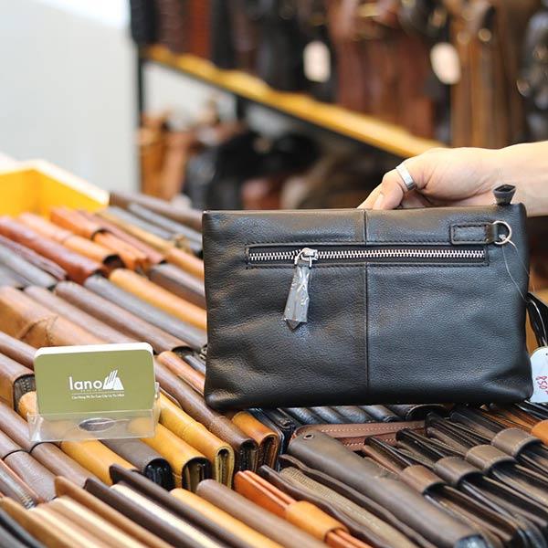 Túi cầm tay nam mini da bò Lano mẫu mới 2019 CLT18 - mặt sau
