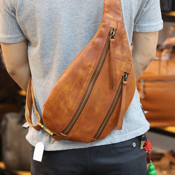 Túi da đeo chéo ngực nam thời trang gọn nhẹ TDL57 - đeo chéo
