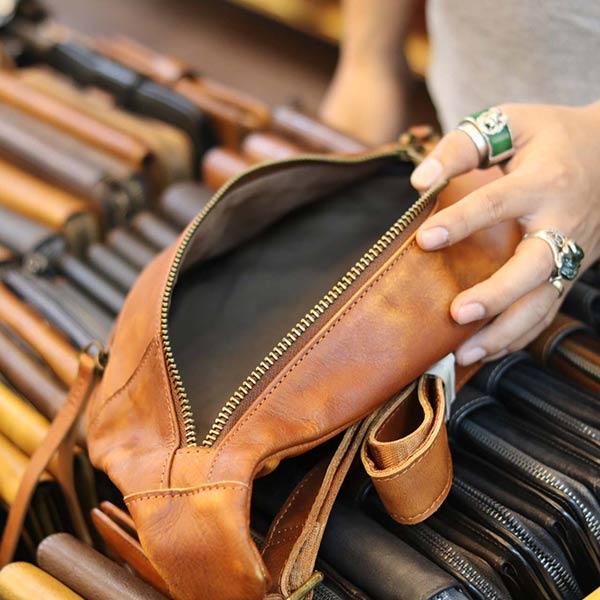 Túi da đeo chéo ngực nam thời trang gọn nhẹ TDL57 - ngăn trong