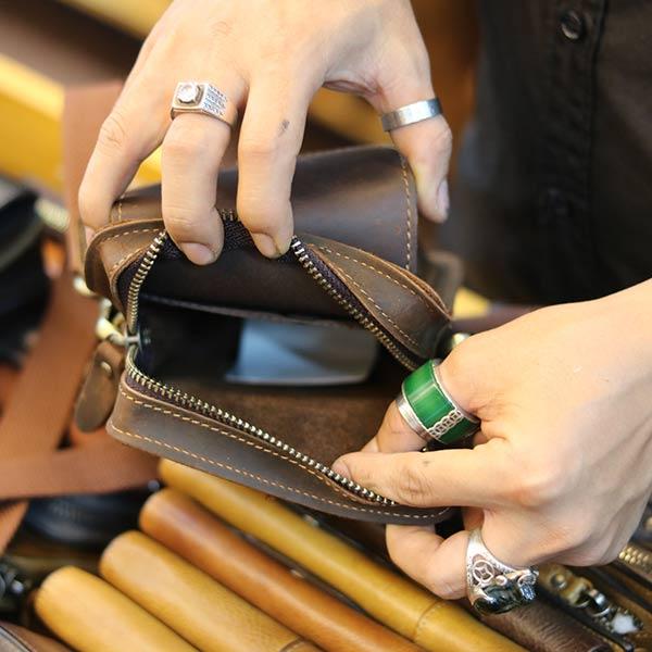 Túi da Lano đeo chéo hông mini chính hãng Contact KT147 ngăn trong