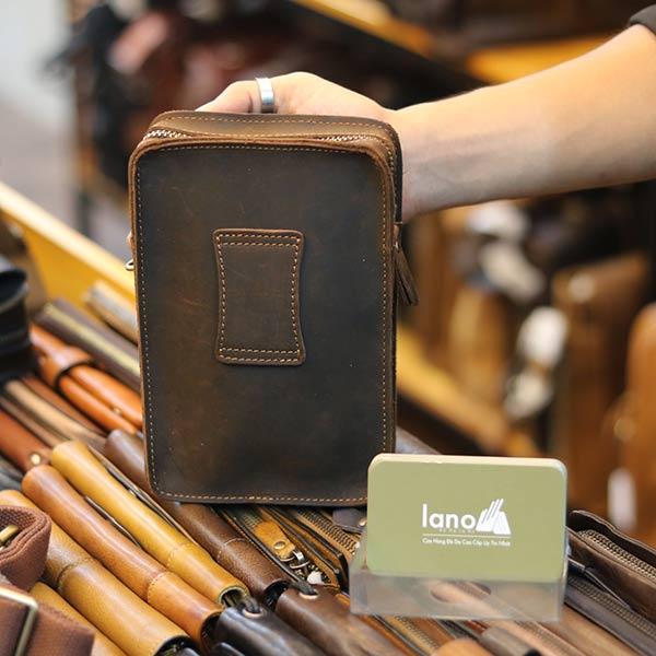 Túi da Lano đeo chéo hông mini chính hãng Contact KT147 mặt sau
