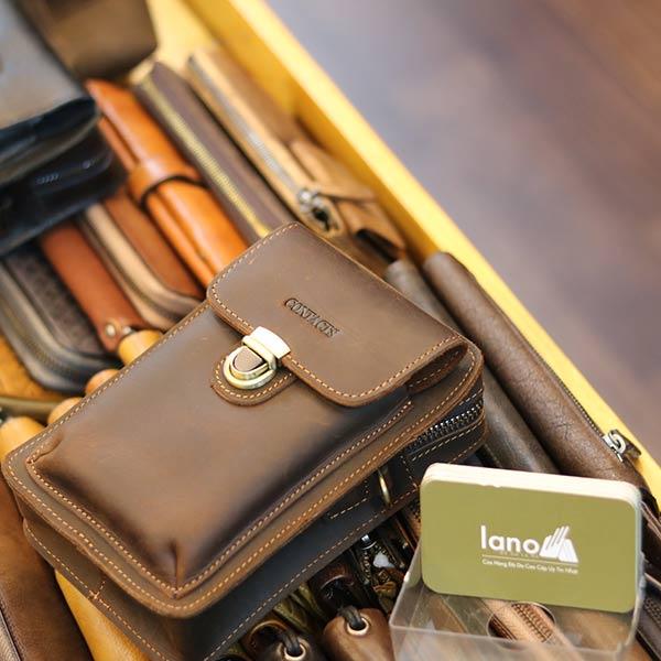 Túi da Lano đeo chéo hông mini chính hãng Contact KT147