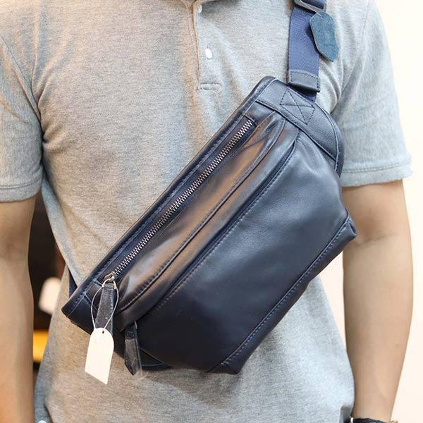 Túi đeo bụng da bò thật Lano đẳng cấp cho phái mạnh TDB009