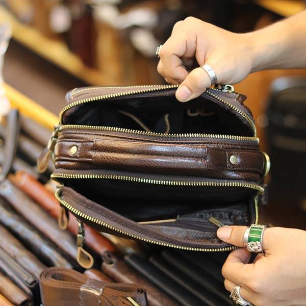 Túi đeo chéo nam có tay xách thời trang Lano cao cấp KT145 ngăn trong