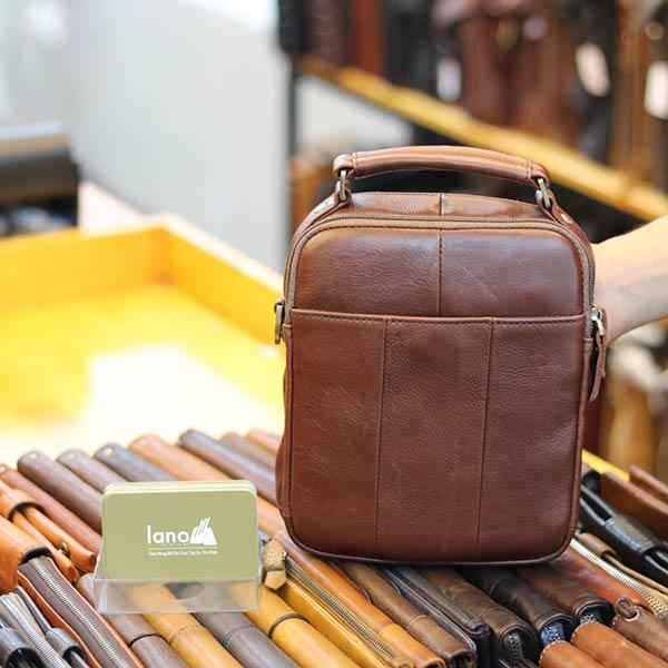 Túi xách nam Lano mini da bò thật cao cấp KT146 - mặt sau