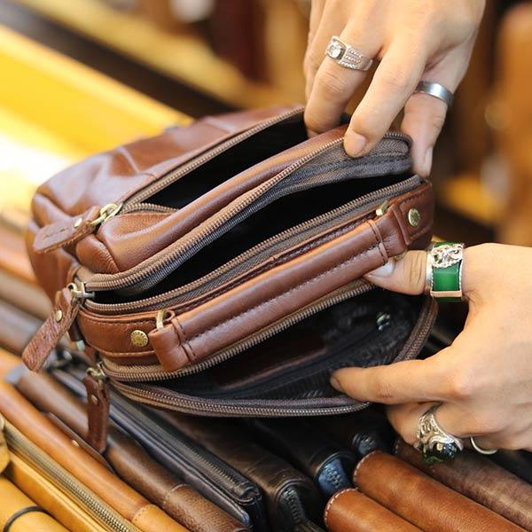 Túi xách nam Lano mini da bò thật cao cấp KT146 - ngăn trong