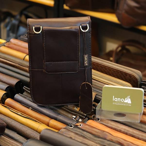 Túi đeo chéo nam mini da bò thật Lano KT149