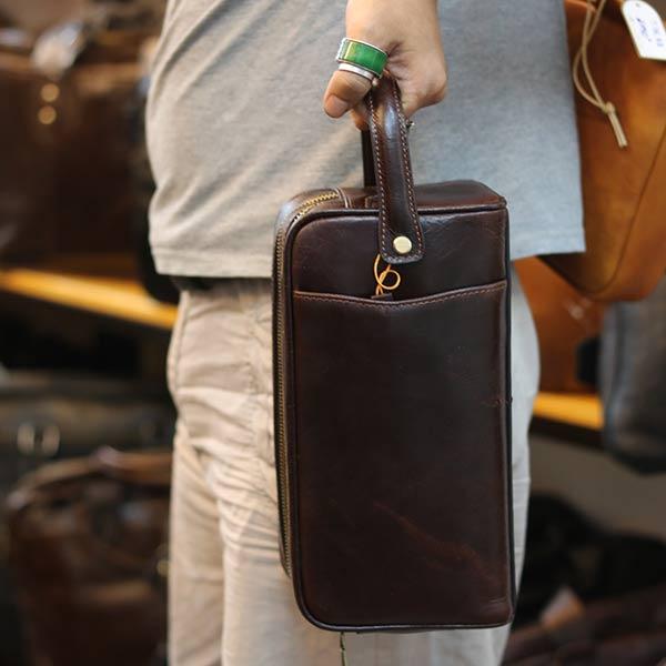 Túi cầm tay nam dạng hộp Lano da bò thật xách tay cao cấp CLT20