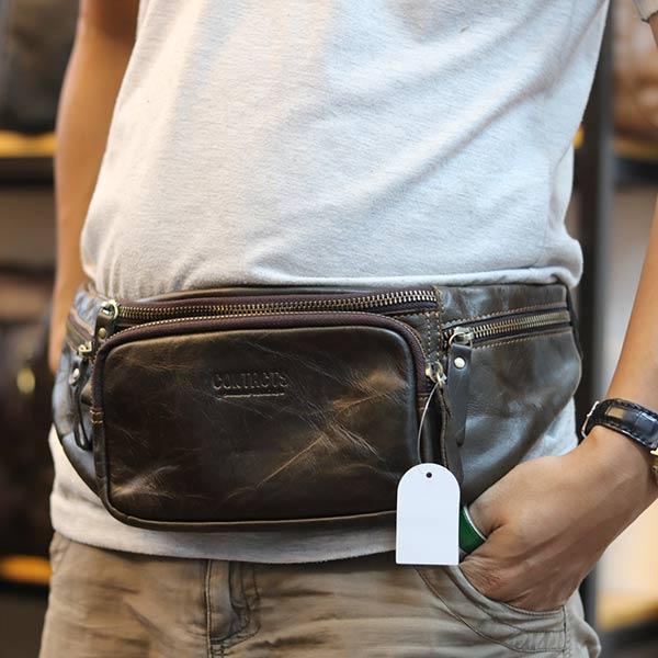 Túi da bao tử đeo bụng cho nam chính hãng Contact TDB011 đeo bụng