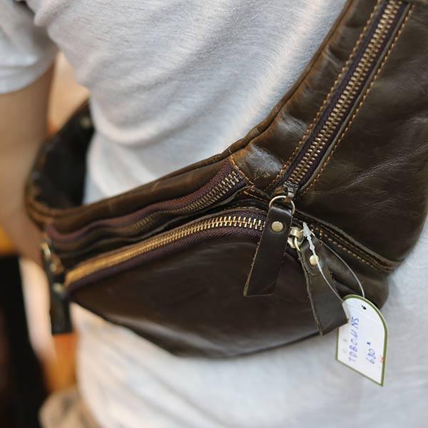 Túi da bao tử đeo bụng cho nam chính hãng Contact TDB011 đeo chéo
