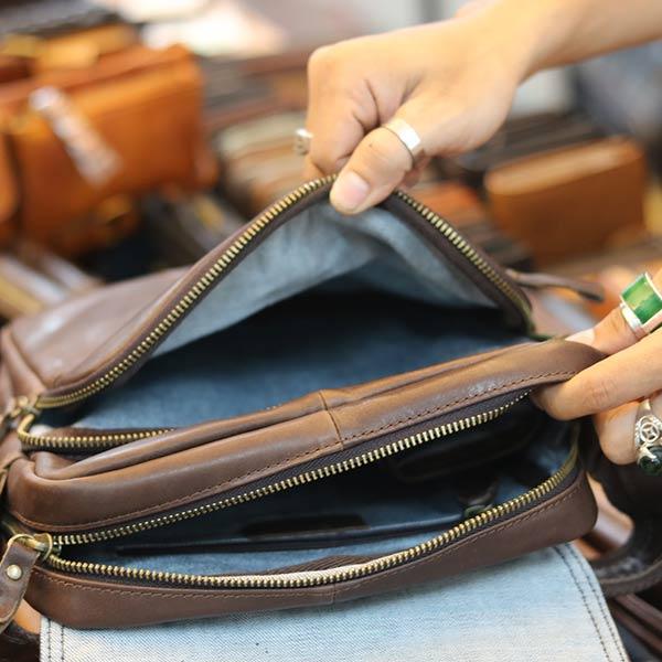Túi da đeo chéo đựng iPad Lano thời trang cao cấp KT151 ngăn trong