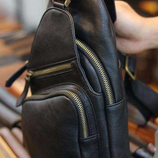 Túi da đeo ngực nam thời trang sang trọng da bò nhập khẩu TDL58