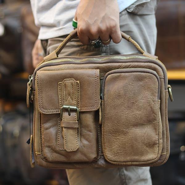 Túi da nam đeo chéo có quai xách thời trang tiện lợi KT150 xách tay