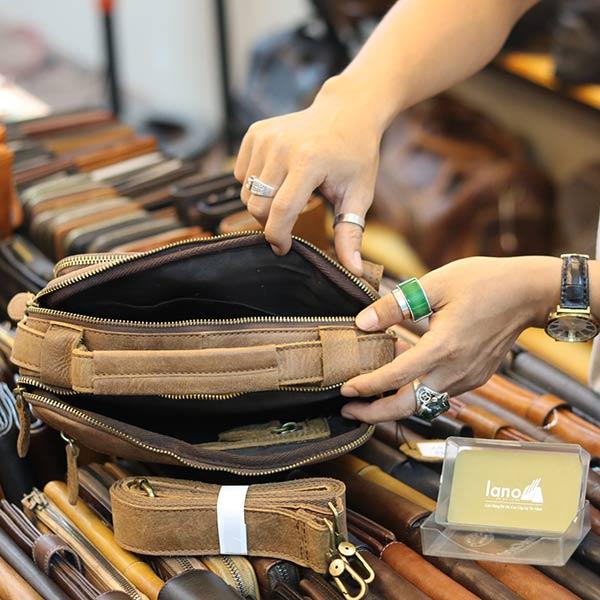Túi da nam đeo chéo có quai xách thời trang tiện lợi KT150 ngăn trong