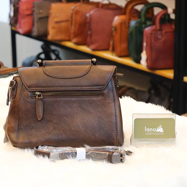 Túi da nữ xách tay Handmade TXN028 mặt sau