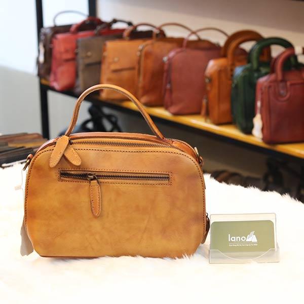 Túi da nữ xách tay Lano cao cấp Handmade TXN022 mặt sau
