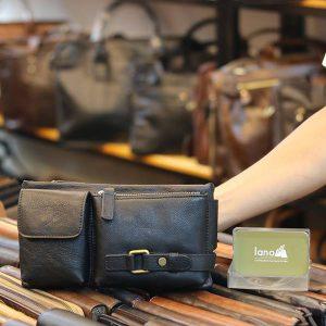 Túi đeo bao tử nam Lano da bò gọn gàng tiện lợi TDB012