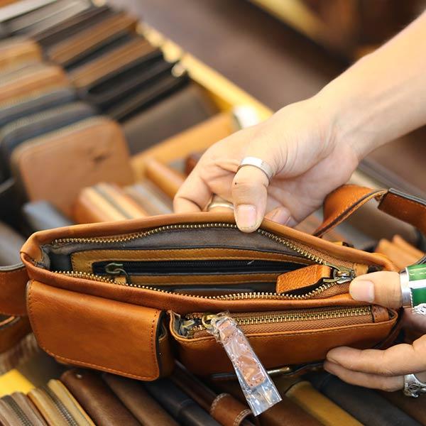 Túi đeo bao tử nam Lano da bò gọn gàng tiện lợi TDB012 ngăn trong