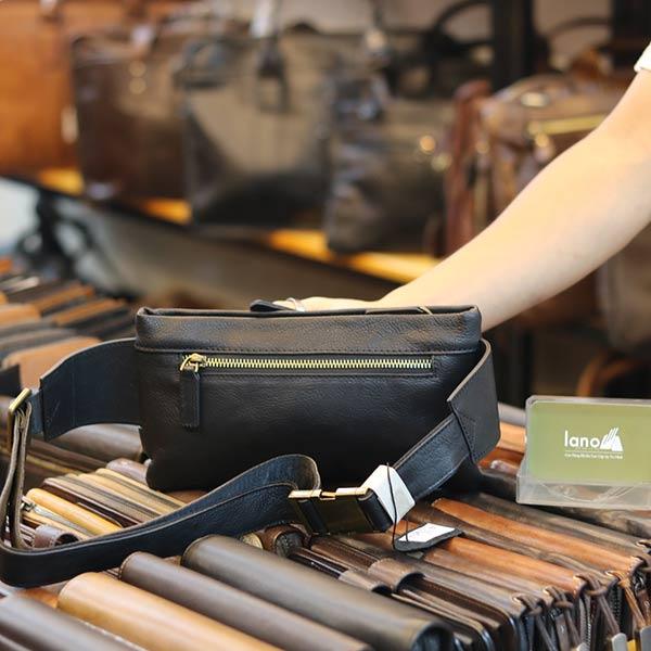 Túi đeo bao tử nam Lano da bò gọn gàng tiện lợi TDB012 mặt sau