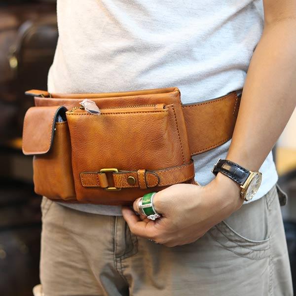 Túi đeo bao tử nam Lano da bò gọn gàng tiện lợi TDB012 đeo bụng