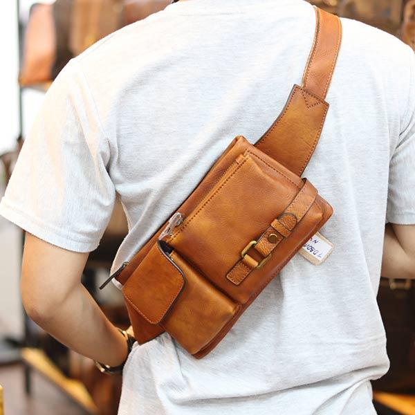 Túi đeo bao tử nam Lano da bò gọn gàng tiện lợi TDB012 đeo chéo