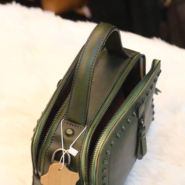 Túi xách nữ đinh tán viền da thật Handmade TXN026