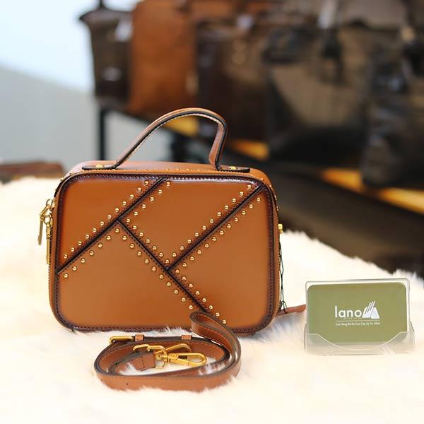Túi xách nữ Lano da bò cao cấp đinh tán loại bóng TXN035