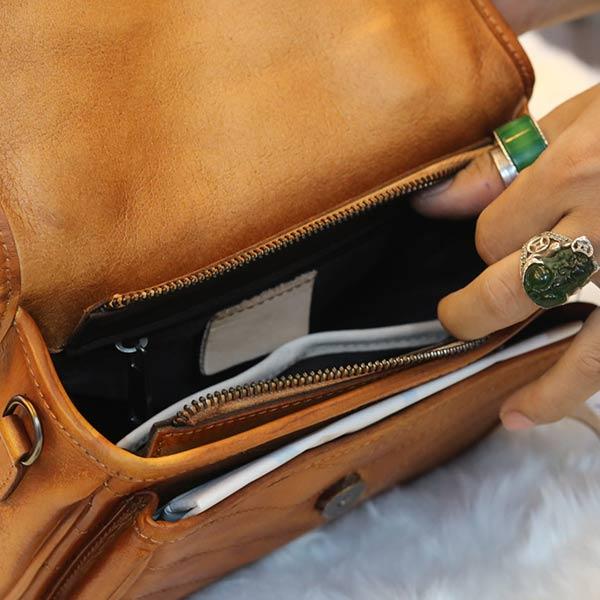 Túi xách nữ Lano da thật Handmade TXN024 ngăn trong