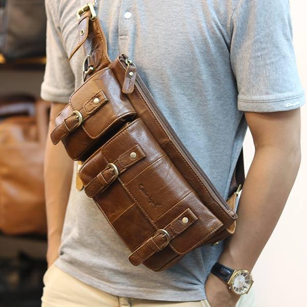 Túi bao tử nam da bò đeo bụng Lano thời trang TDB13