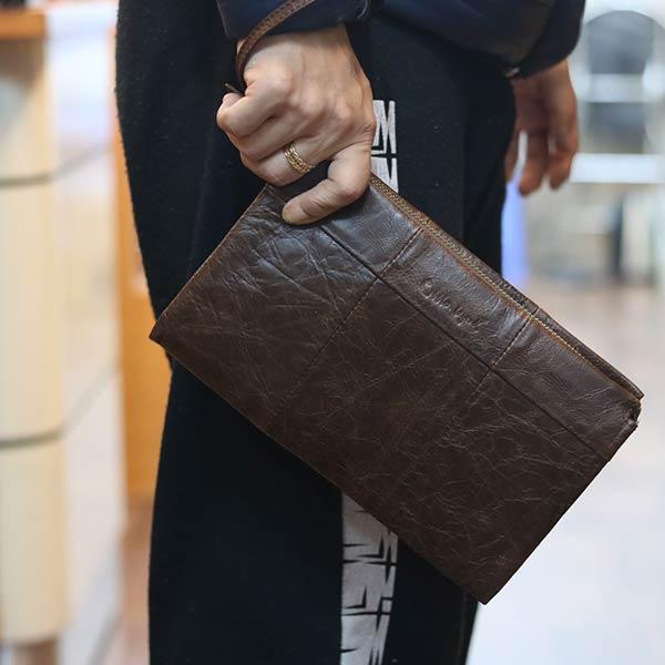 Túi cầm tay nam da bò Lano sang trọng gọn nhẹ CLT22